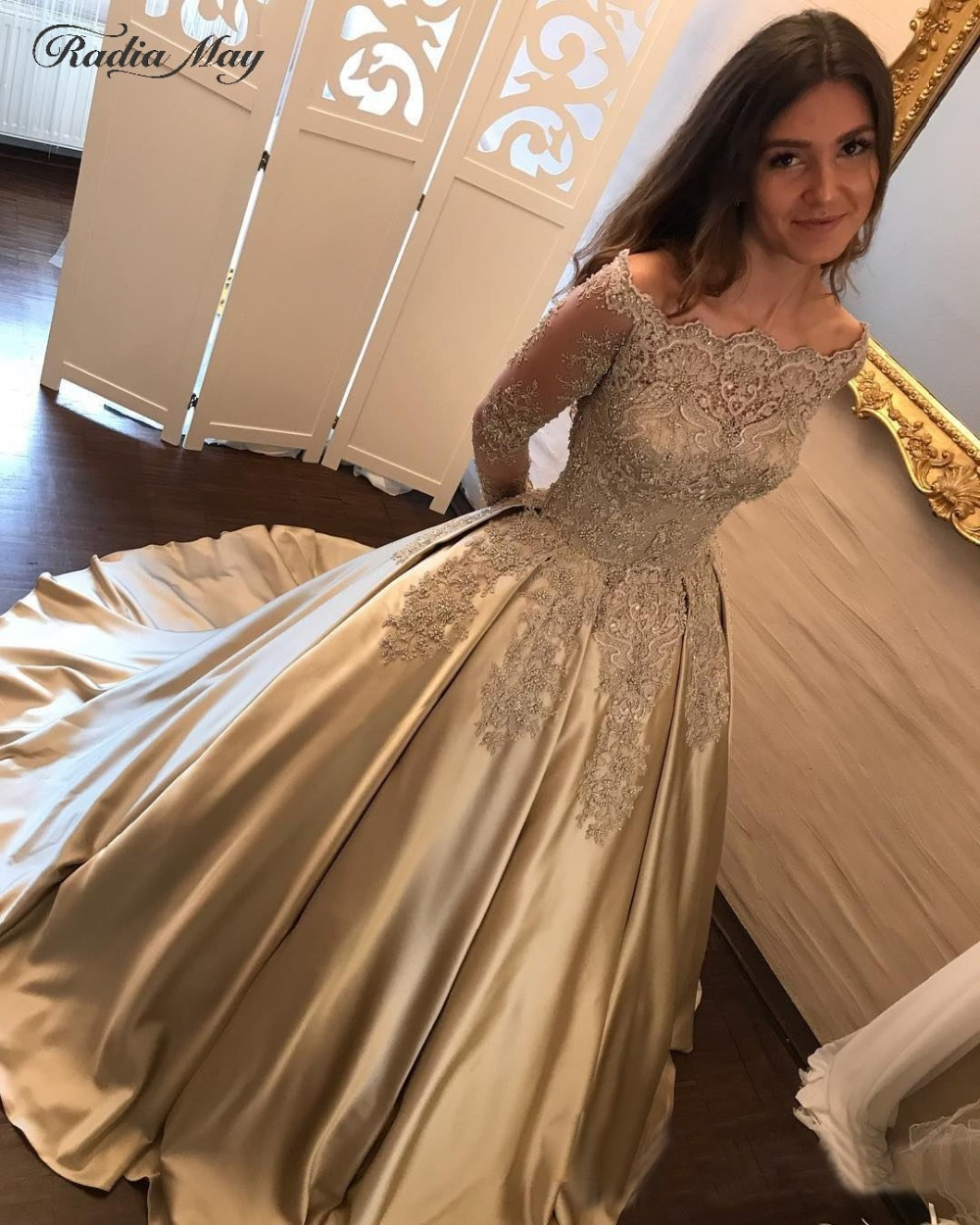e579af6da09 Elegant Off Shoulder Long Sleeves Gold Quinceanera Dresses Ball Gown 15  Birthday Dress Appliques Boat Neck