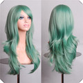 Long Green Wig 70CM Wavy Synthetic Cosplay Future Mirai Nikki Yuno Gasai  Styled Hair Long Green Wig