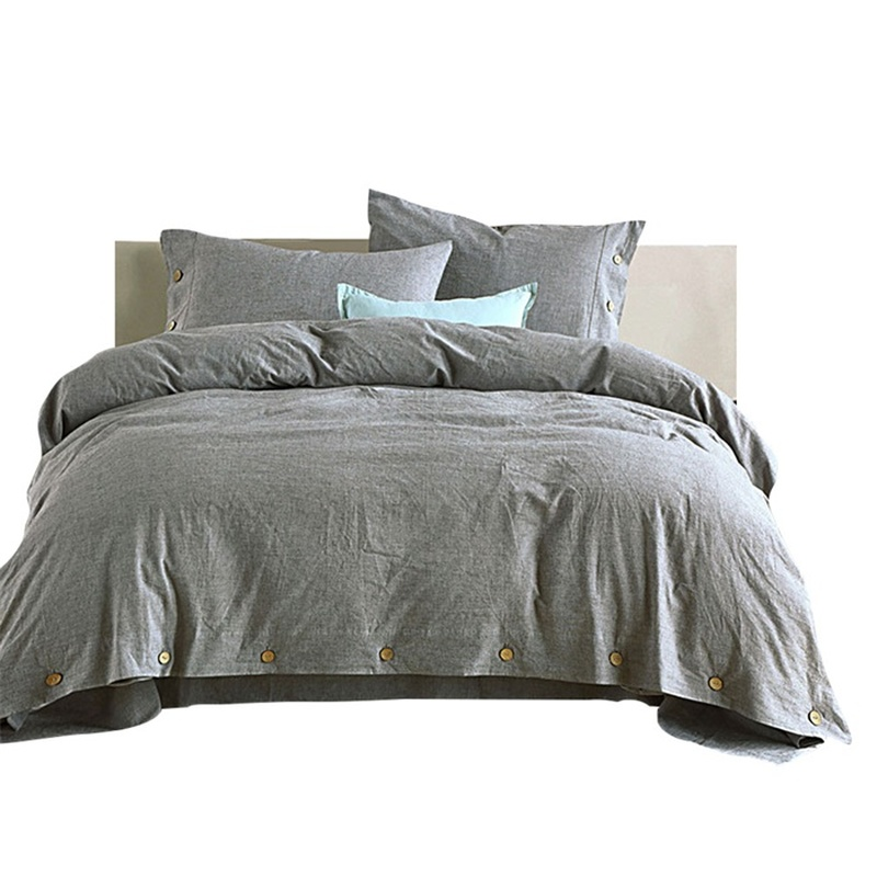 100% Cotton Gray Bedding Set for Adults Kids Queen Size Button Pillowcase Duvet Cover Home Soft Breathable Bedroom Cloth