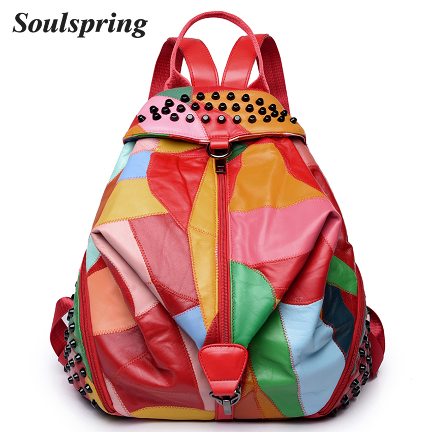 Fashion Genuine Leather Backpack Women School Bags For Teenage Girls Backpacks High Quality Rivet Ladies Backpack Sac A Dos 2018 jmd vintage women backpack for teenage girls school bags fashion large backpacks high quality genuine leather travel laptop bag