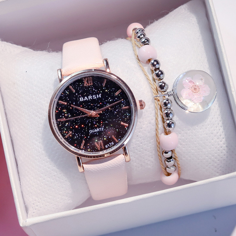 Exquisite Simple Style Women Starry Sky Watches Small Fashion Quartz Leather Ladies Watch Top Brand Elegant Girl Bracelet Watch