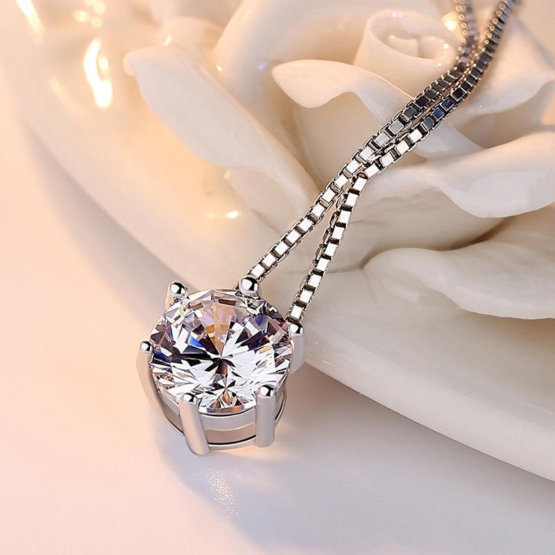 Zarif rhinestone zinciri tek zirkon 925 saf gümüş kolye kadın - Kostüm mücevherat - Fotoğraf 3