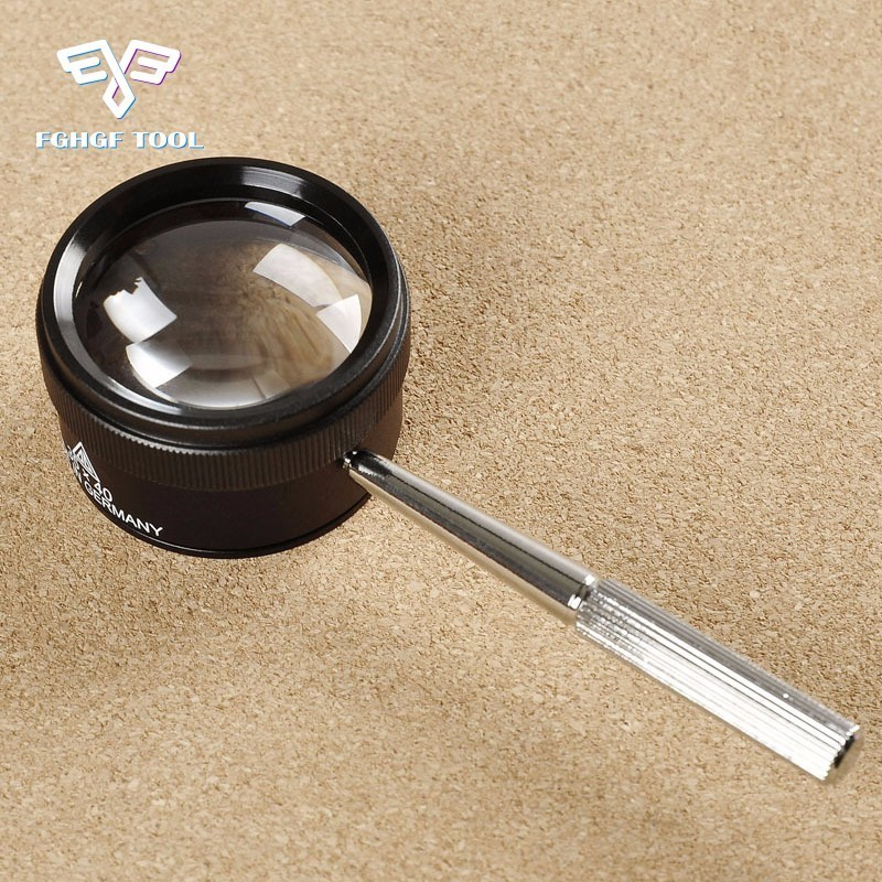 FGHGF 30X 40 mmPortable De Poche Bijoux Loupe Optiques En Verre Pour Réparation De Montre Outil Poignée Loup Loupe