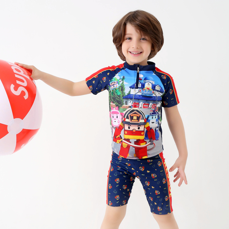 Boys Two pieces Swimwear Kids Short Sleeve Diving Swimsuit ...