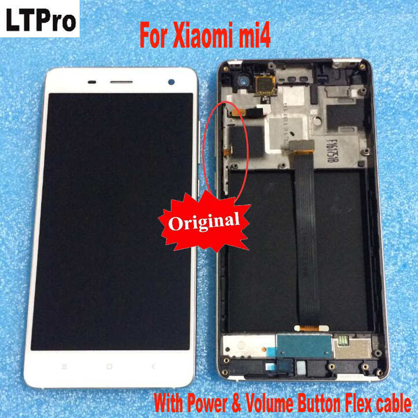 Оригинальный протестировал OK сборка сенсорного экрана ЖК-дисплея и цифрового преобразователя с рамкой для Xiaomi Mi4 M4 mi 4 телефон Запчасти WCDMA и...