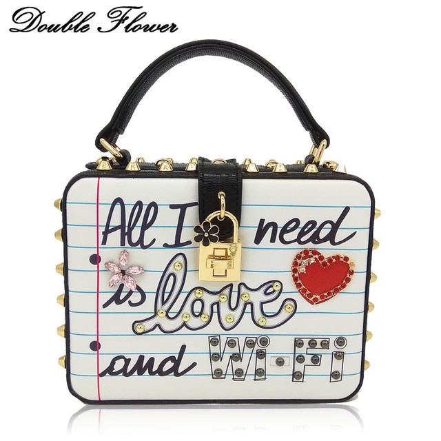 Double Flower All I need is Love and WIFI Letters Rivets Women's Fashion Shoulder Handbag Ladies Casual Box Clutch Crossbody Bag
