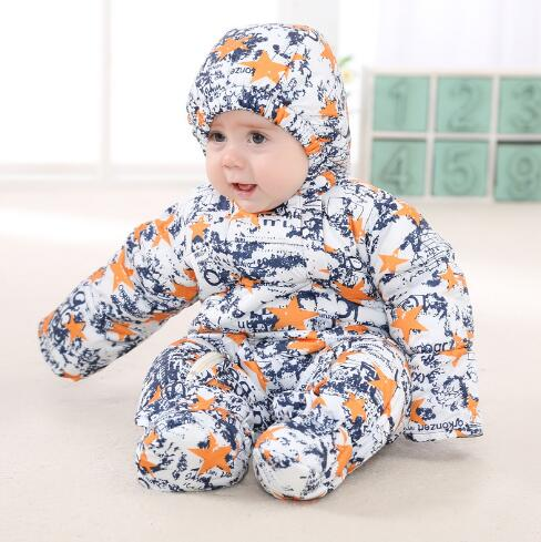 2017 Newborn Baby Rompers Winter duck down Boys Costume Girls Warm Clothes Kid Jumpsuit Children Outerwear Baby Wear christmas 2017 brand new winter newborn infantil baby rompers kid boys and girls clothing real fur jumpsuit down overall jacket