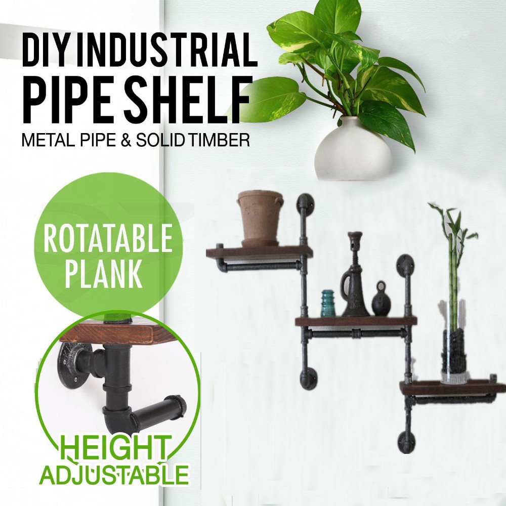 Industrial Rustic Urban Iron Pipe Wall Shelf 3 Tiers Wooden Board Shelving Home water pi ...