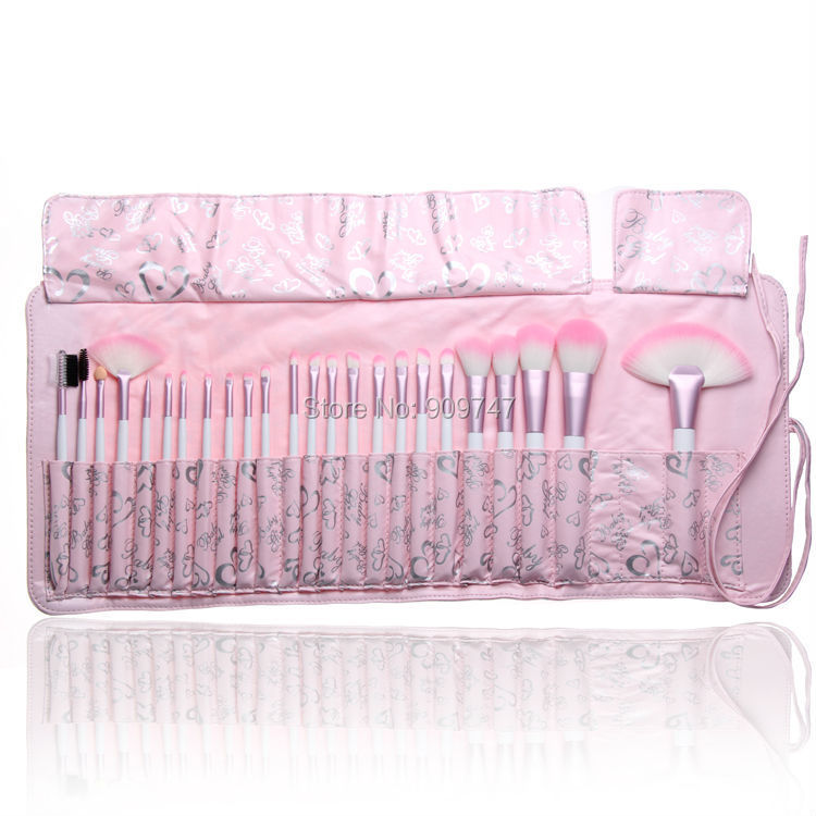 24 pcs Soft Synthetic Hair make up tools kit Cosmetic Beauty Makeup Brush Sets foundation brushes with pink love heart Case free shipping 15 pcs soft synthetic hair make up tools kit cosmetic beauty makeup brush black sets with leather case