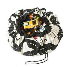 Креативный детский игровой коврик, сумка для хранения игрушек, дорожный узор, портативный автомобильный трек, брезентовый коврик, детский пол, ползучий круглый коврик для гоночных игр