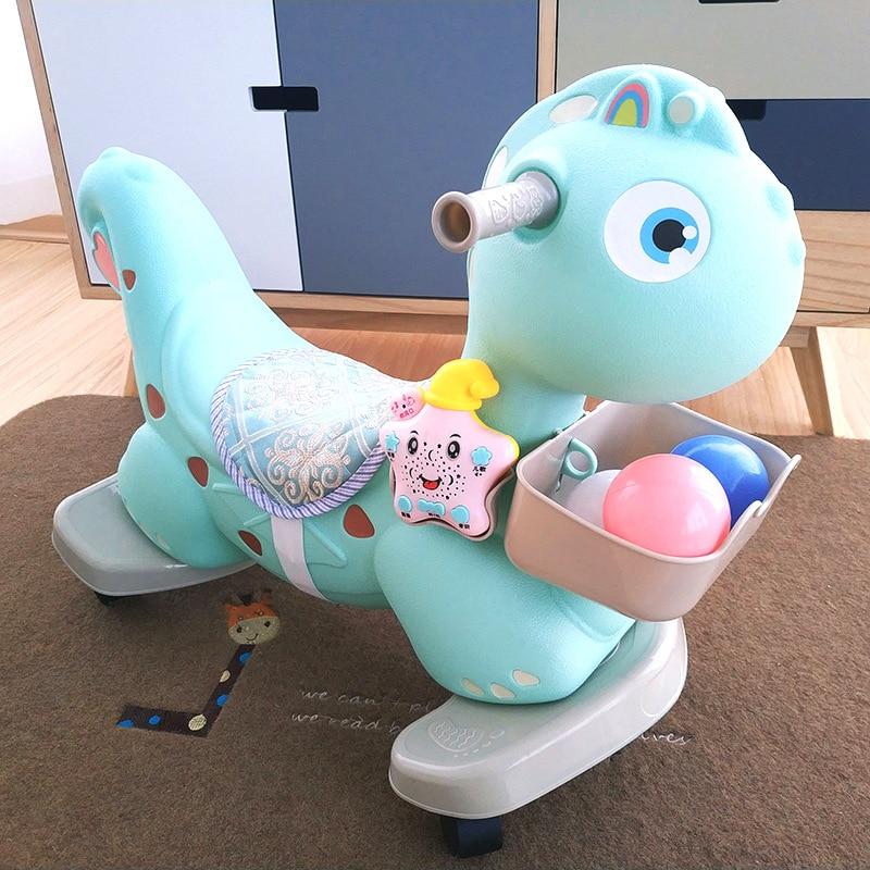 Baby Rocking Jumping Horse Cartoon Trojan Rocking Horse Baby Child Ride on Animal Toys Plastic Horse Riding Kids Rocking Chair