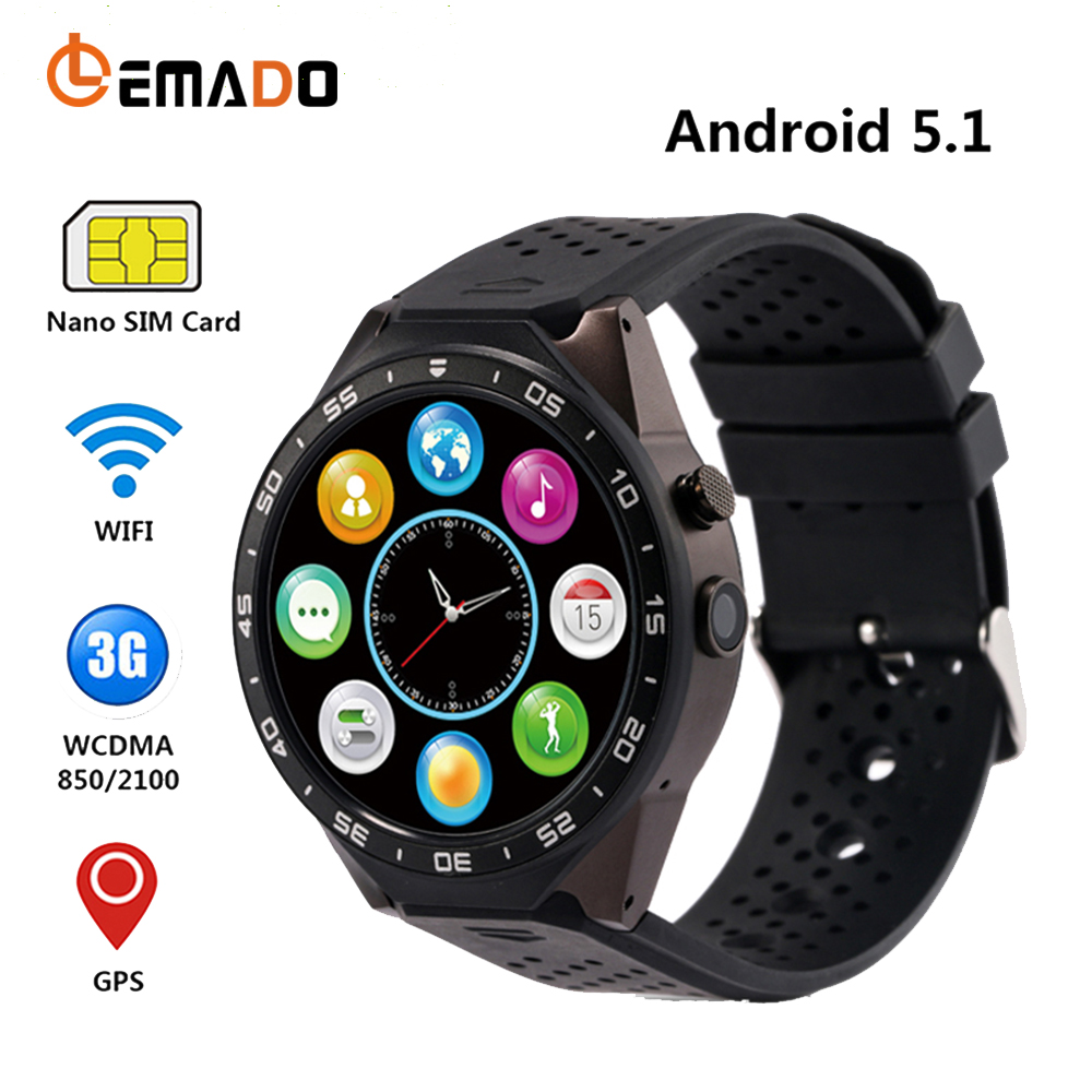LEMADO Smart Watches Kw88 Smartwatch MTK6580 Support Nano SIM Card 3G WiFi GPS Smartwatch Android 5.1 Heart Rate Smart Clock