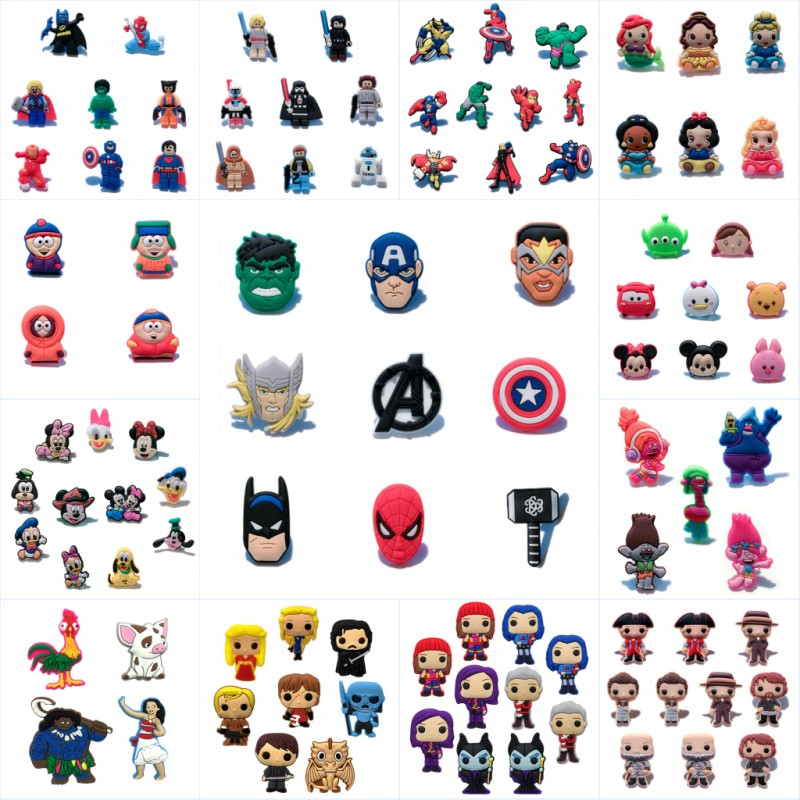 500pcs Cartoon PVC Pin Brooches Avenger Mickey Game of Thrones Unicorns Justice League Badges Hat Backpack