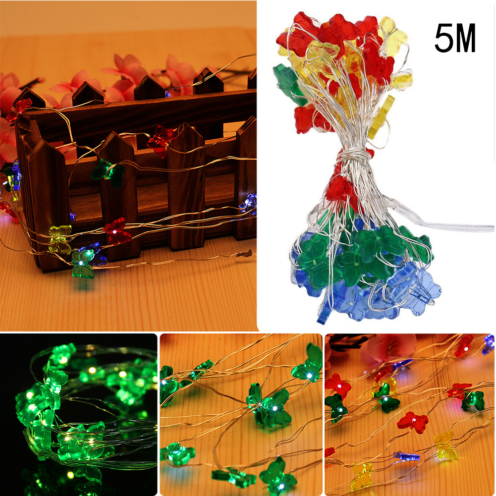 5M 50pcs LED Warm White/Pure White/Colorful Christmas Wedding Party Decor Outdoor And Indoor Decoration Butterfly String Light