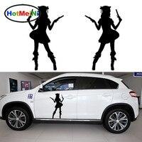 Hotmeini 2 ×美しい女の子保持を中世海賊ピストル面白い車のステッカードアカヤックカヌー車カバービニールデカール9