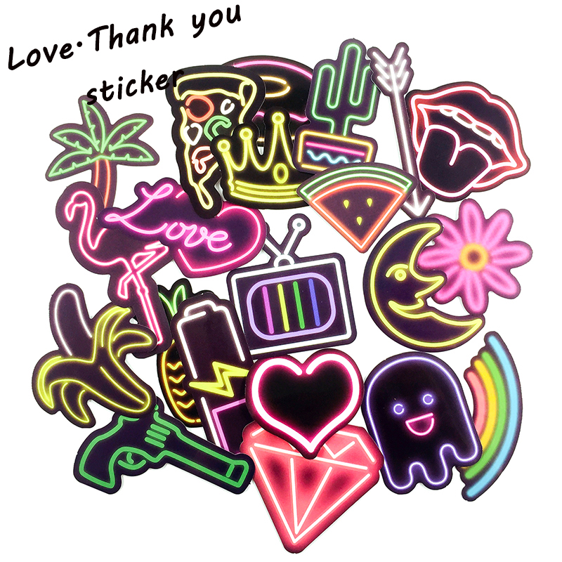 21pcs 1lot Neon Light Flamingo Laptop Stickers Waterproof Luggage Phone Decal For Skateboard Toy Sticker For
