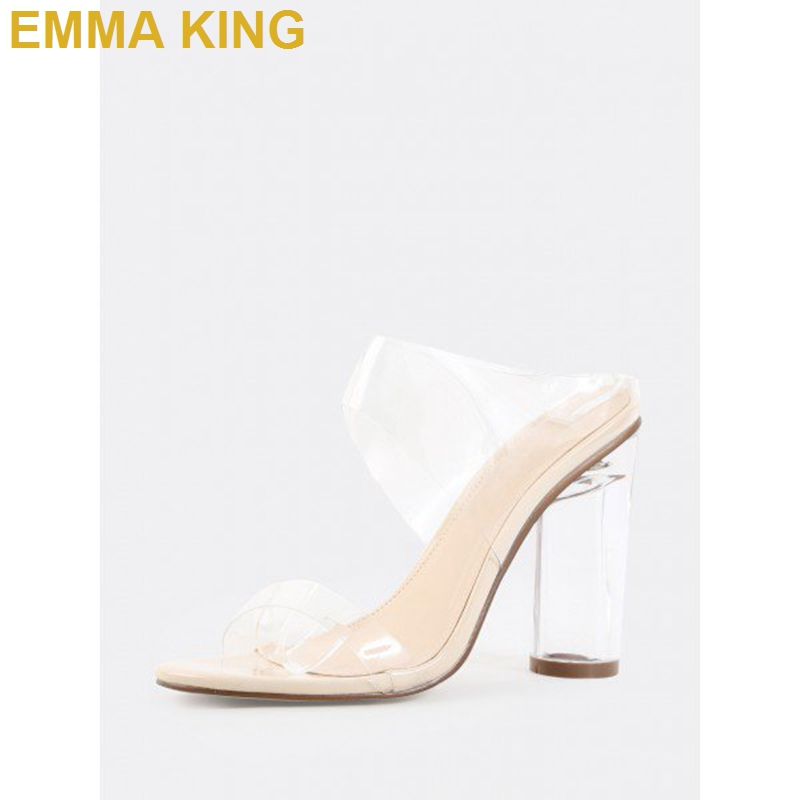 Модные женские туфли без задника на прозрачном каблуке с открытым носком; удобные босоножки на не сужающемся книзу массивном каблуке; пикантные женские летние босоножки на высоком каблуке - 3