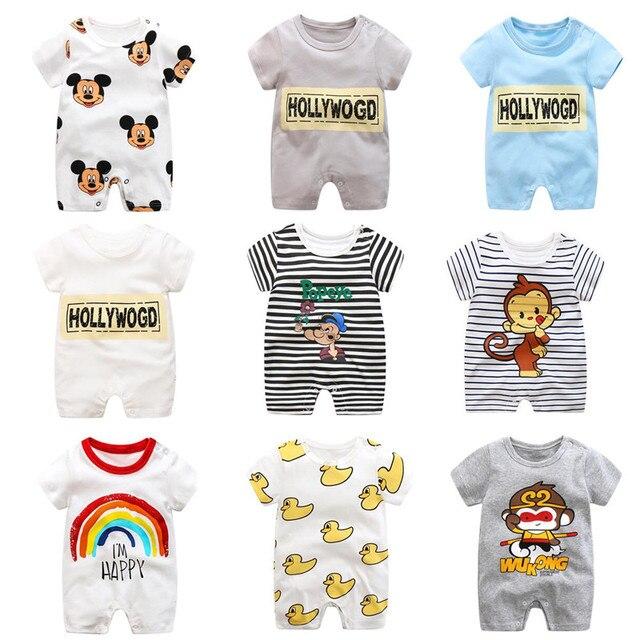 Мультфильм детская одежда хлопок младенческая костюм Короткие детские боди 0-24 М детские ropa bebes одежду для новорожденного ребенка мальчик комбинезон