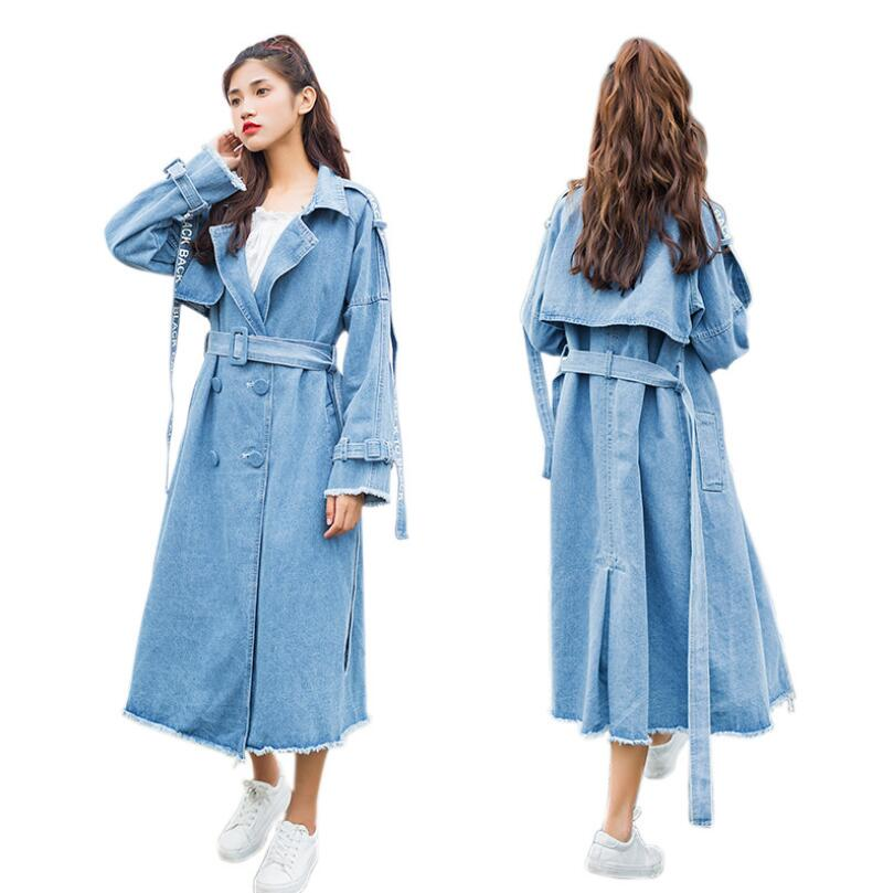 2019 Spring autumn Jeans Coat Women Fashion Belt Slim Denim Trench Coat Long Sleeve Casual Double Breasted Windbreakers r667