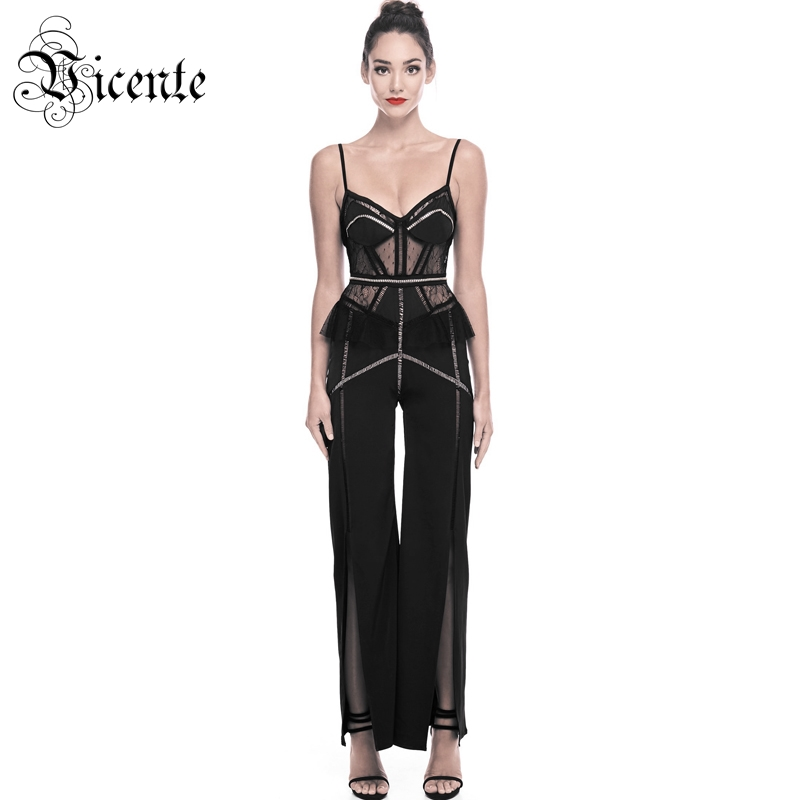Vicente HOT Chic Ruffles Rivet Embellished Sexy V neck Hollow Out Lace Splicing Wholesale Celebrity Party