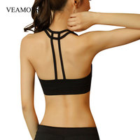 VEAMORS Sexy Women Double Cross Backless Strappy Bra Fitness Stretch Padded Seamless Solid Vest Crop Tops