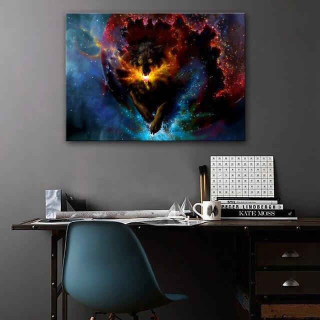 Stretched Canvas Prints Fantastic Wolf LED Flashing Optical Fiber ...