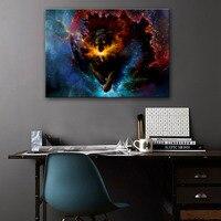 Stretched Canvas Prints Fantastic Wolf LED Flashing Optical Fiber Print LED Wall Art LED Decorations