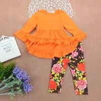 幼児の女の子服セットロングスリーブドレス+花柄レギンス2ピースセット赤ちゃん女の子服18メートル-4 t SW-EY