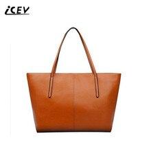 Фотография ICEV New Simple Casual Women Leather Handbags Thread Top Handle Bags Handbags Women Famous Brands Shopping Totes Bolsa feminina