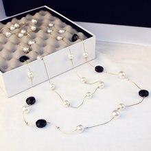 Имитация жемчуга ожерелье с кристаллами из циркона длинный свитер