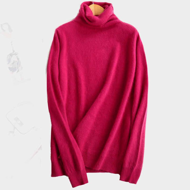 2019 새로운 100% 순수 밍크 캐시미어 스웨터 여성 높은 칼라 풀오버 여성 두꺼운 따뜻한 부드러운 스웨터 헤지