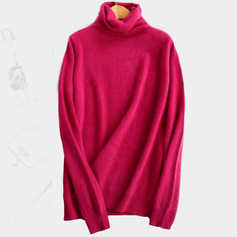 2019 New 100% Pure Mink Cashmere Sweater Female High Collar Pullover Women Thick Warm Soft Sweater hedging