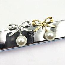 дешево!  Мода леди сплав бантом имитация жемчуга броши булавка женская металлическая банкет свадебный брошь