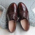 Genuine Leather Vintage Brown Brockden Carved Flat-Bottomed Oxfords Shoes Flat Heel Shoes Handmade Custom Big Size Shoes