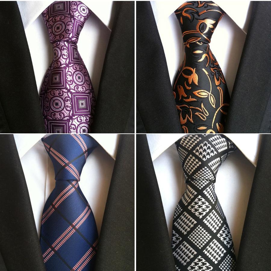 Ricnais Fashion Silk Mens Ties New Design Neck Ties 8cm Plaid&Striped Ties For Men Formal Wear Business Wedding Party Gravatas