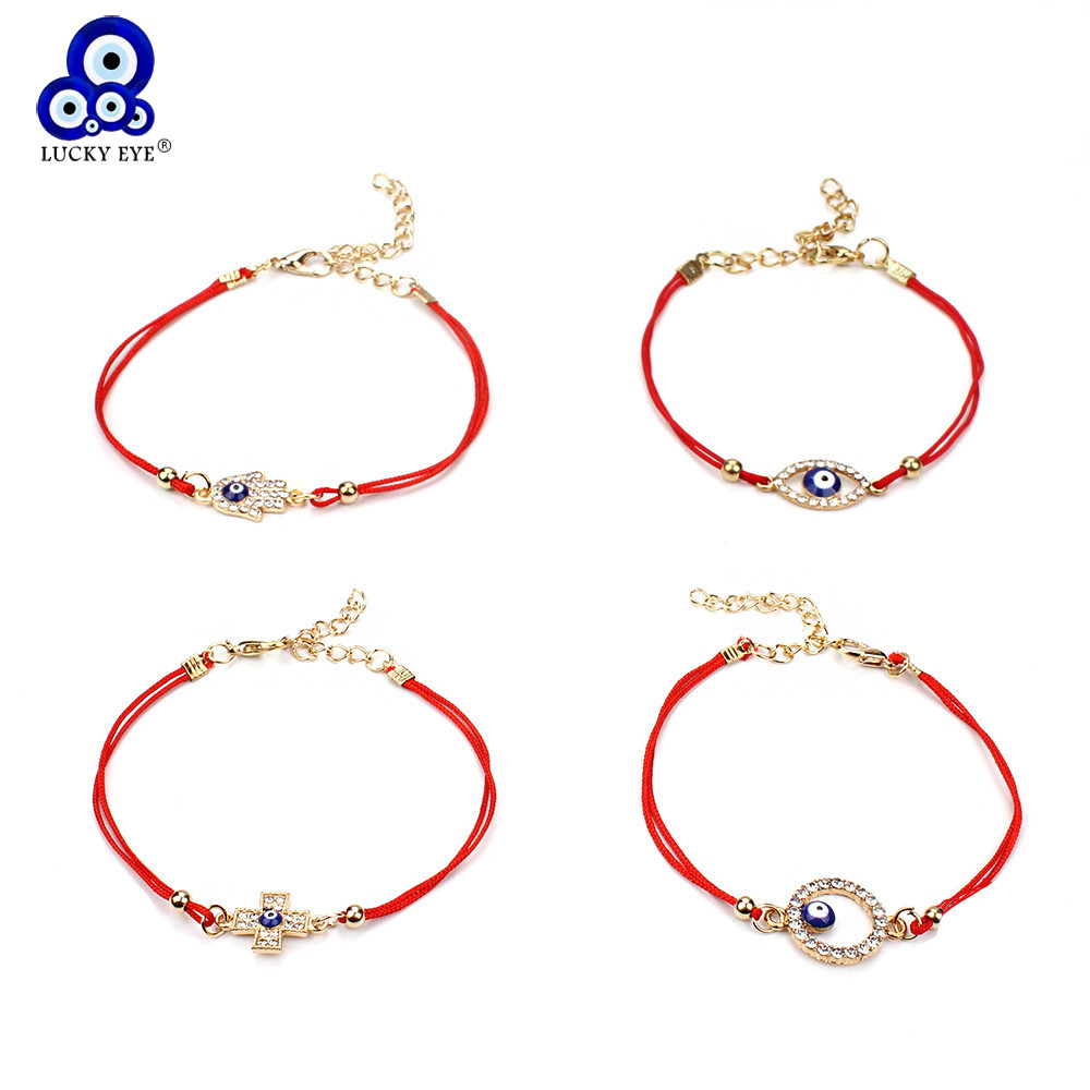 Lucky Eye Thin Red thread Evil Eye Cross Charms Armbånd String Rope Bangles Armbånd For kvinner Menn Justerbar lengde EY96