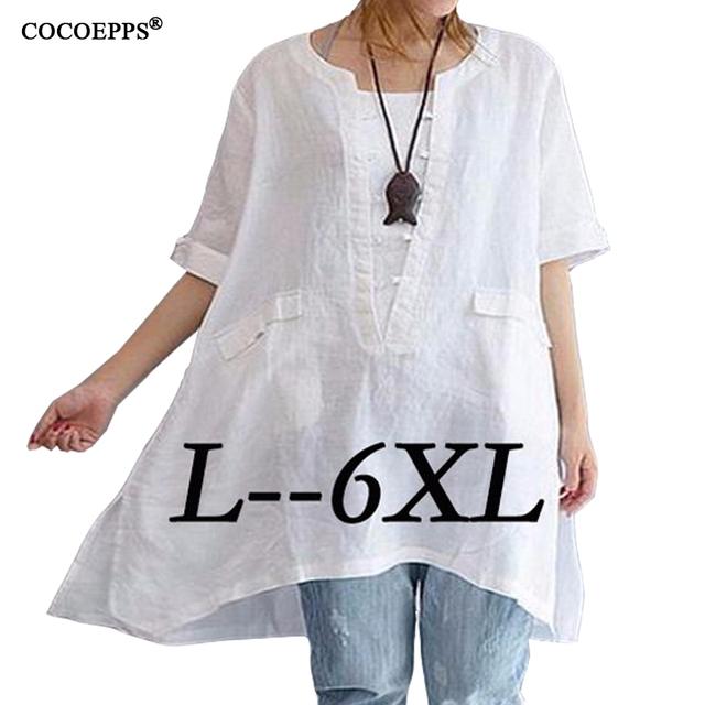 2017 Verão Das Senhoras Das Mulheres Plus Size Longos topos de culturas casuais tamanho grande t-shirt de manga curta mulheres sólidos clothing blusa 6xl Feminina