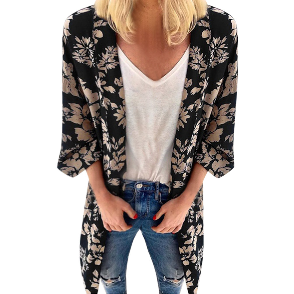Kimono Cardigan Womens Tops And Blouses Vintage Three Quarter Sleeve Blouse Tunic Summer Ladies Tops For Women Clothes 2019 cardigan