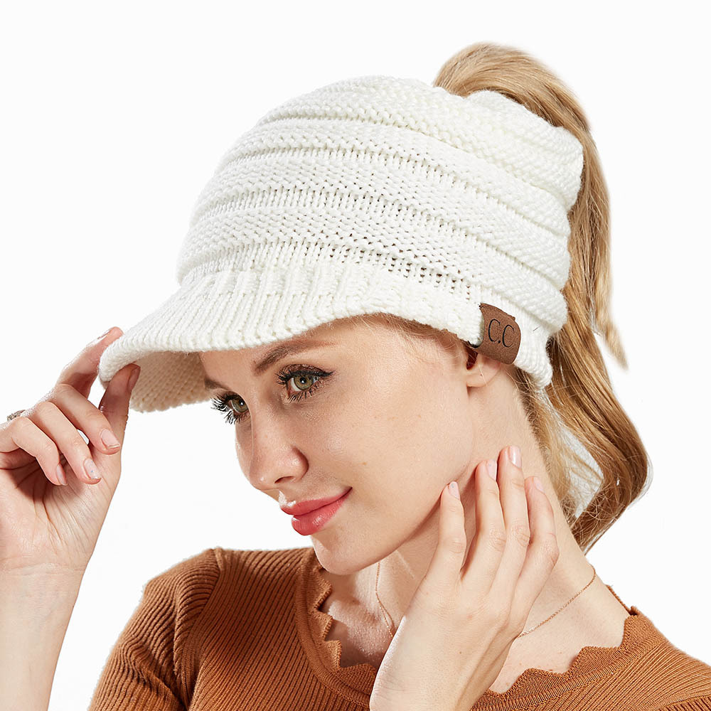 bfd074a4299 2018 New CC Ponytail Beanie Women Winter Hats Visor Baseball Caps Messy Bun  Hat Knitted Beanies for Ladies Warm Woolen Knit Cap-in Skullies   Beanies  from ...