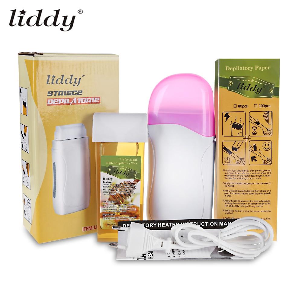 LIDDY 3 in 1 Depilatory Hair Removal Wax Epilator Machine Set 40W Depilatory Heater Depilatory Wax 100pcs Paper Strip