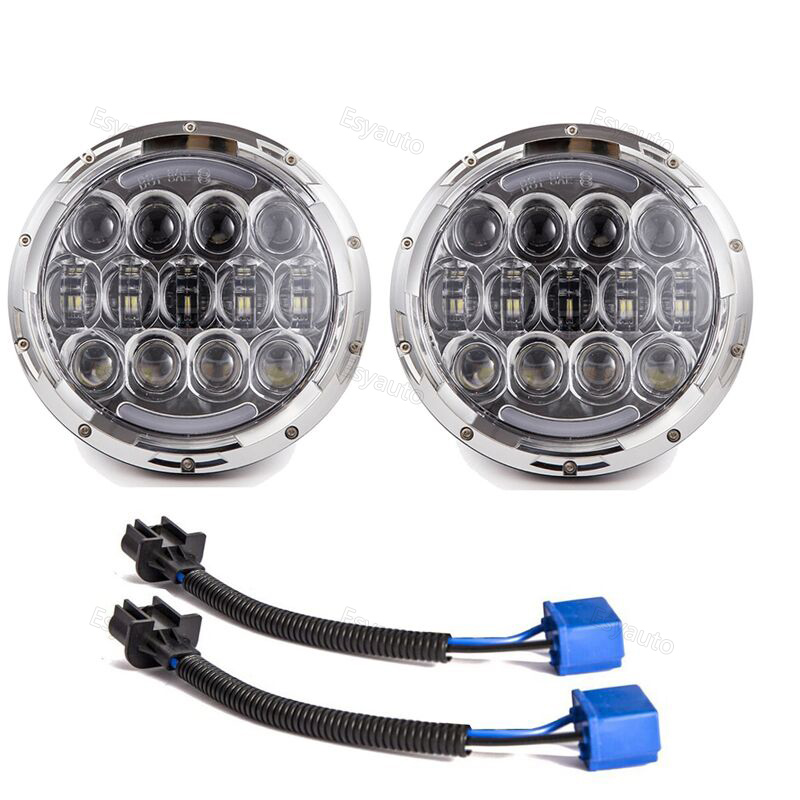 2PCS 7 Inch Round LED Headlight with White/amber Lighting DRL 7'' High/Low Beam Headlamp for Jeep Wrangler 2pcs 7 inch round led headlight with white amber lighting color drl 7 high low beam headlamp for jeep wrangler