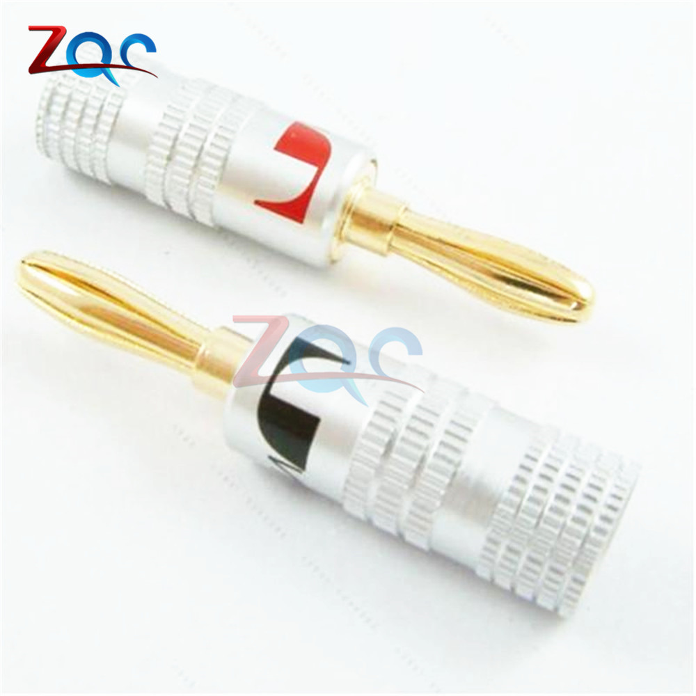 2pcs 24K Gold Plated For Nakamichi Speaker Banana Plug Pure Copper Audio Jack Connector Black Red