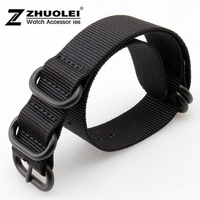 22mm New Black Nato Durable Nylon Wrist Watch Strap Bands Military Army Nylon Divers Stainless Steel