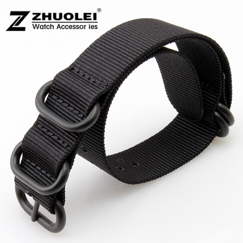 2881b64e4a9f 18mm 20mm 22mm 24mm 26mm Black Nato Durable Nylon Wrist Watch Strap Band  Military Army Nylon Divers Stainless Steel Buckle Clasp