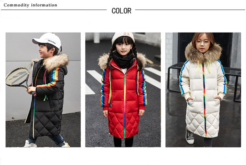 2017 New Winter Long Rainbow Down Jacket Children's Hooded Thick Coat Boys And Girls Detachable Fur Collar Coat Parka 4-8T boys thick down jacket 2018 new winter new children raccoon fur warm coat clothing boys hooded down outerwear 20 30degree