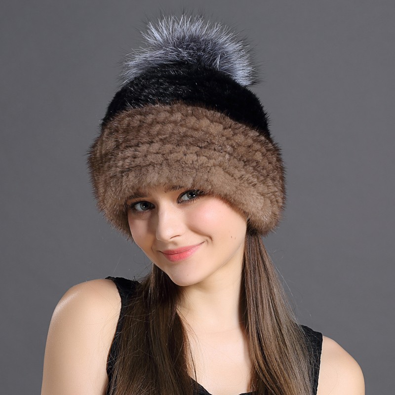 ФОТО Mink Fur Cap Women Winter Real Natural Fur Patchwork Color Skin-Friendly Fashion Hats With Pompon Sweet Girls Warming Caps