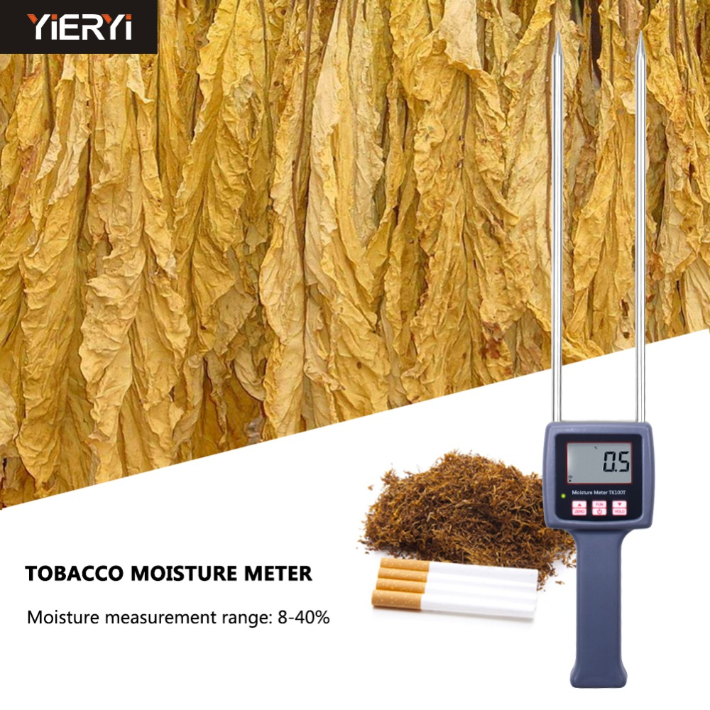 yieryi 100% New Brand TK100T Portable Digital Moisture Meter Tobacco Moisture Meter Tester mc 7806 digital moisture analyzer price with pin type cotton paper building tobacco moisture meter