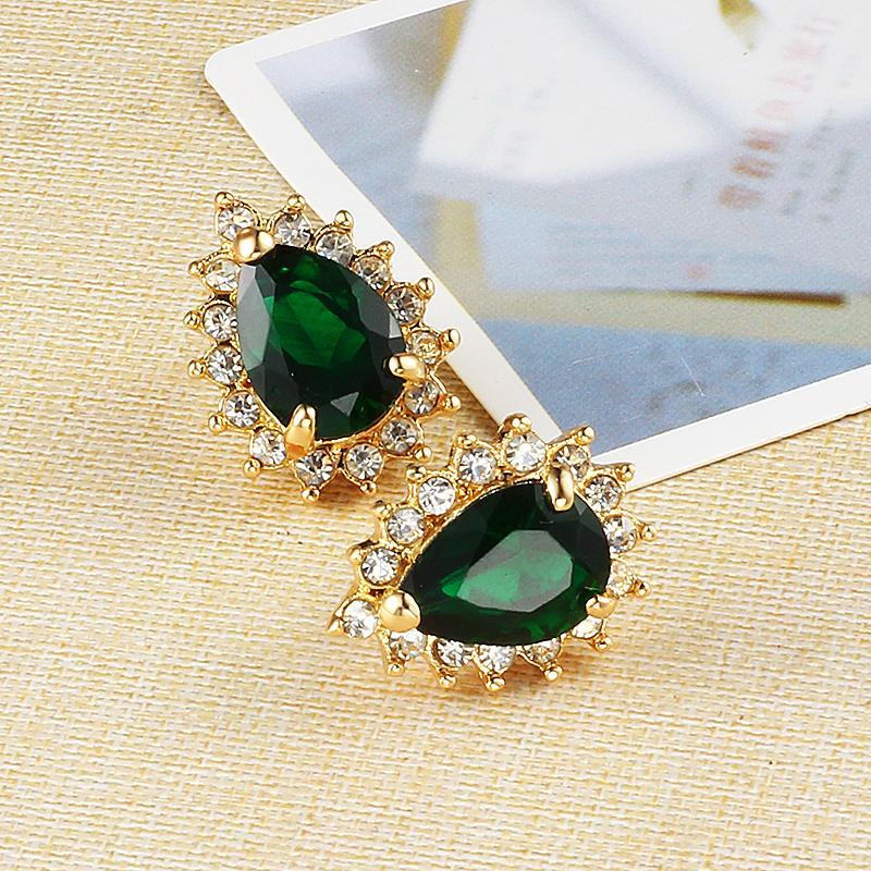 Dark Green water drop cute studs famous brand jewelry Gold earrings