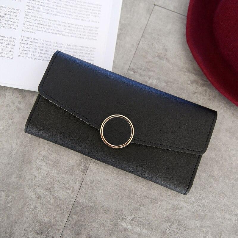 New Fashion Wallet Leather Women Wallet Long Pu Leather Purse Zipper Metal Circle Decor Wallets Female Hasp Coin Purse Clutch