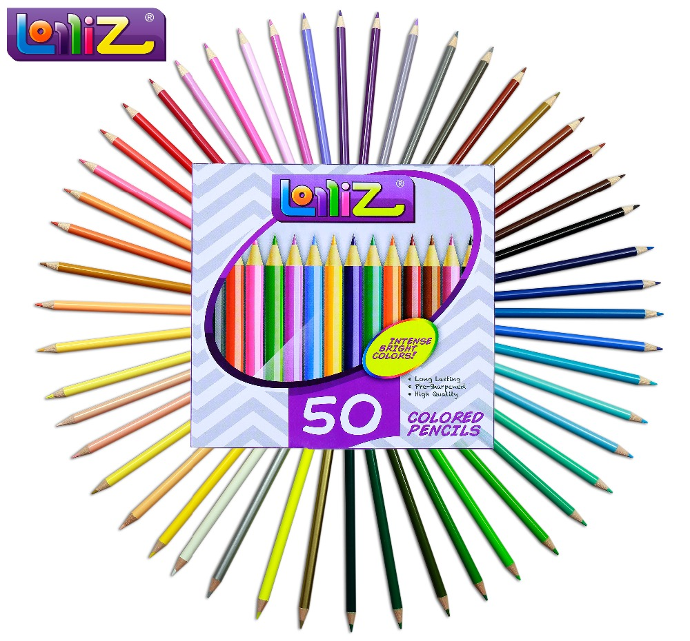 LolliZ 50 PCS Colored Pencil Set Safe Non-toxic Oil Based For Write Drawing Art School Supplies